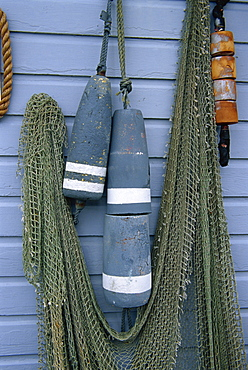 Nets and buoys, Bandon City, Oregon, United States of America, North America
