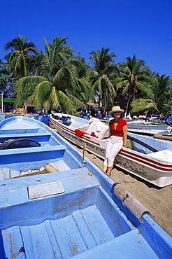 Fishing boats, Principal Beach, Zihuatanejo village, Guerrero State, Mexico, North America