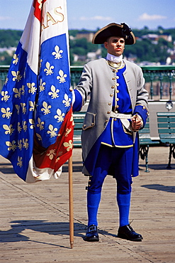 French soldier, circa 1700, Dufferin Terrace, Quebec City, Quebec state, Canada, North America