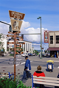 Crossroads sign, downtown, Anchorage, Alaska, United States of America, North America