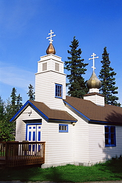 St. Nicholas Russian church, Eklutna Historical Village, Anchorage area, Alaska, United States of America, North America