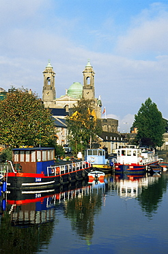 Canal barges, Athlone Town, County Westmeath, Leinster, Republic of Ireland, Europe