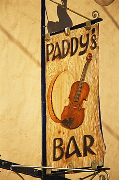 Paddy's bar sign, Glenties village, County Donegal, Ulster, Republic of Ireland, Europe