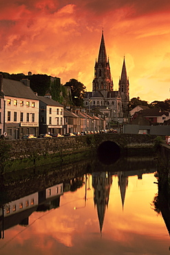 St. Finbarr's cathedral and River Lee, Cork City, County Cork, Munster, Republic of Ireland, Europe