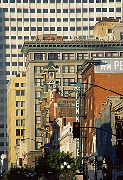 Looking down 5th Avenue, Gaslamp district, San Diego, California, United States of America, North America