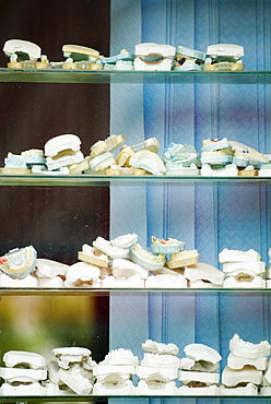 Dentist's window and collection of teeth moulds, Zhongdian, Shangri-La County, Yunnan Province, China, Asia