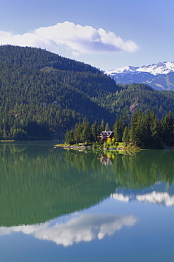 House on the shore of Green Lake, Whistler, British Columbia, Canada, North America