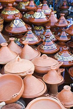 Tajine pots for sale in souk, Meknes, Morocco, North Africa, Africa