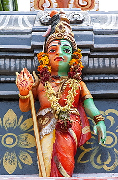 Colourful decoration outside the Hindu Subrahmanya Temple, Munnar, Kerala, India, Asia
