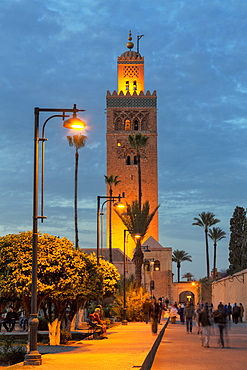 The Minaret of Koutoubia Mosque illuminated at night, UNESCO World Heritage Site, Marrakech, Morocco, North Africa, Africa