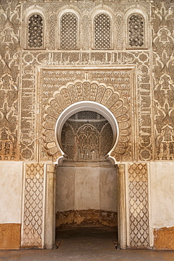 Traditional decorative plaster carving in the Ben Youssef Medersa, UNESCO World Heritage Site, Marrakech, Morocco, North Africa, Africa