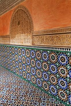 Traditional Moroccan Zallij tile work in the Ben Youssef Medersa, UNESCO World Heritage Site, Marrakech, Morocco, North Africa, Africa - 785-1662