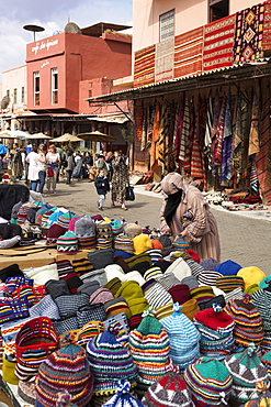 Traditional colourful woollen hats for sale in Rahba Kedima (Old Square), Marrakech, Morocco, North Africa, Africa
