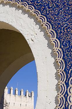 Detail, Bab Boujeloud (Bab Bou Jeloud) city gate, Medina, Fez, Morocco, North Africa, Africa