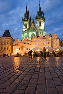 Old Town Square in the evening and the Church of Our Lady before Tyn, Old Town,Prague, Czech Republic, Europe