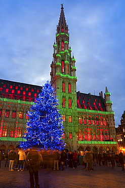 City Hall, Grand Place, UNESCO World Heritage Site, at Christmas time, Brussels, Belgium, Europe
