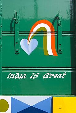 Decorated truck, Hyderabad, Andhra Pradesh state, India, Asia