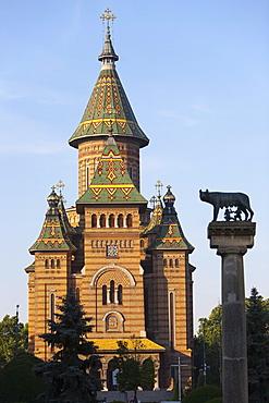Metropolitan Cathedral and Romulus and Remus column, Timisoara, Romania, Europe