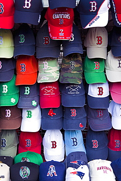 Baseball caps for sale in Quincy Market, Boston, Massachusetts, New England, United States of America, North America