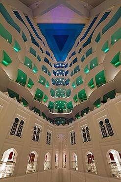 Atrium of the Burj Al Arab Hotel, Dubai, United Arab Emirates, Middle East