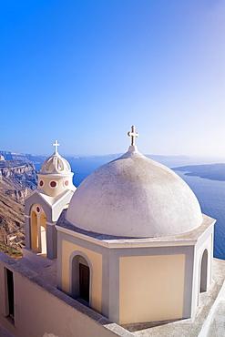 Greek Orthodox Church in Fira, Santorini (Thira), Cyclades Islands, Aegean Sea, Greek Islands, Greece, Europe - 794-1190