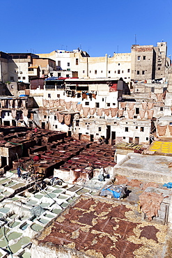 Chouwara traditional leather tannery in Old Fez, vats for tanning and dyeing leather hides and skins, Fez, Morocco, North Africa, Africa