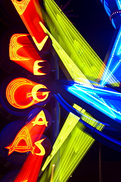 Neon Vegas sign at night, Downtown, Freemont East Area, Las Vegas, Nevada, United States of America, North America