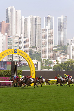 Horses racing at Happy Valley racecourse, Hong Kong, China, Asia