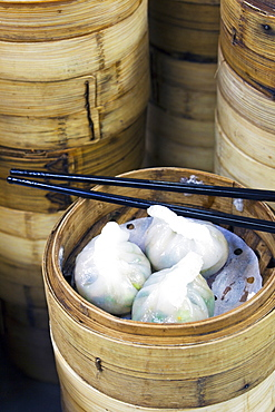 Dim sum preparation in a restaurant kitchen in Hong Kong, China, Asia