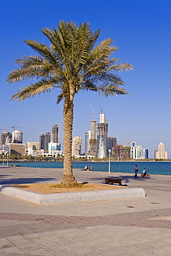 City skyline, West Bay financial district viewed from the Corniche, Doha, Qatar, Middle East