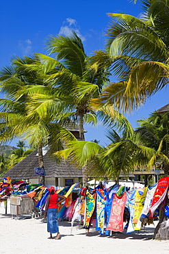 Colourful designs for sale along Jolly Beach, Antigua, Leeward Islands, West Indies, Caribbean, Central America