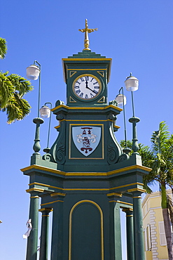 Clock Tower in the centre of capital, Piccadilly Circus, Basseterre, St. Kitts, Leeward Islands, West Indies, Caribbean, Central America