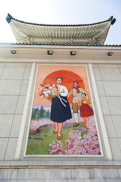 Colourful wall paintings outside the National Theatre, Pyongyang, Democratic People's Republic of Korea (DPRK), North Korea, Asia