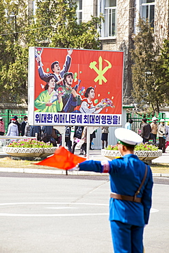 Propaganda posters of North Korean socialist realist graphic art, Pyongyang, Democratic People's Republic of Korea (DPRK), North Korea, Asia