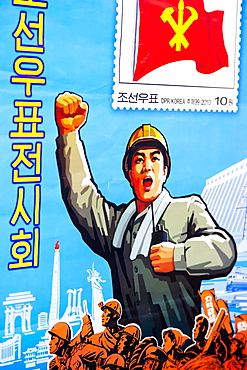 Stamp poster, Pyongyang, Democratic People's Republic of Korea (DPRK), North Korea, Asia