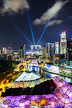 Elevated view over the Entertainment district of Clarke Quay, the Singapore River and city skyline, Singapore, Southeast Asia, Asia