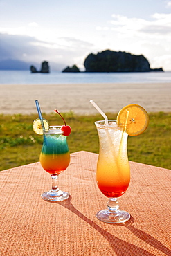 Beachfront cocktails at Pantai Tanjung Rhu, Pulau Langkawi, Langkawi Island, Malaysia, Southeast Asia, Asia