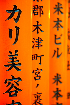 Detail of script written on the Torii gates, Fushimi Inari Taisha Shrine, Kyoto, Kansai Region, Honshu, Japan, Asia