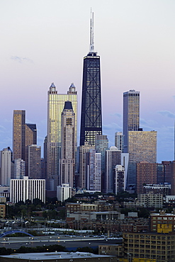 The Hancock Tower and city skyline, Chicago, Illinois, United States of America, North America