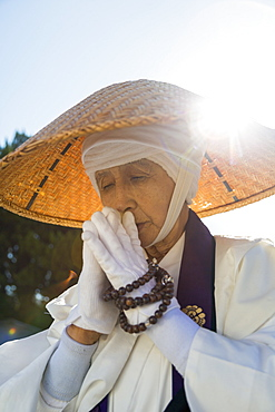 Japanese female Buddhist monk collecting alms at the Kiyomizudera Temple in Kyoto, Japan, Asia