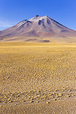 The altiplano at an altitude of over 4000m and the peak of Cerro Miniques at 5910m, Los Flamencos National Reserve, Atacama Desert, Antofagasta Region, Norte Grande, Chile, South America