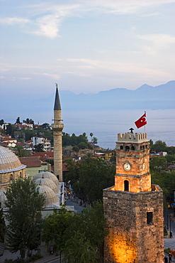 Clocktower (Saat Kulesi) and Tekeli Memet Pasa Mosque in the historic district of Kaleici, Antalya, Anatolia, Turkey, Asia Minor, Eurasia