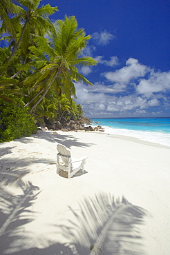 Adirondack chair and tropical beach, Seychelles, Indian Ocean, Africa