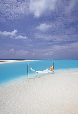 Hammock on the edge of beach, Maldives, Indian Ocean, Asia