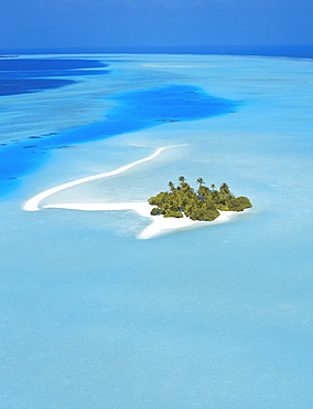 Aerial view of an island in the North Male atoll, Maldives, Indian Ocean, Asia