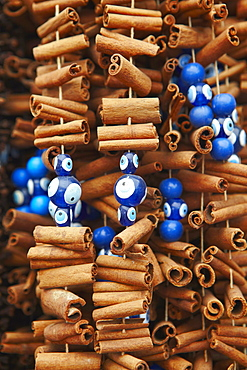 Cinnamon sticks and evil eye souvenirs, Istanbul, Turkey, Europe