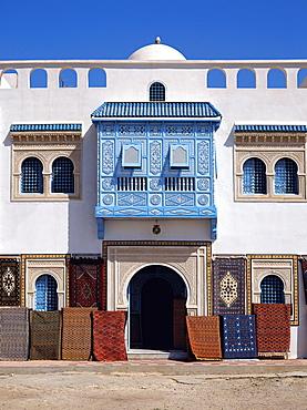 Typical decorative window in a carpet shop in the medina, Tunisia, North Africa, Africa