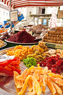 Candied fruits in local market in Regensburg, Bavaria, Germany, Europe