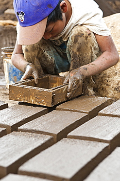 Clay brick and tile factory outside Antigua, Guatemala, Central America