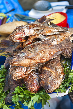 Fried talapia fish in the market at Santiago Sacatepequez, Guatemala, Central America
